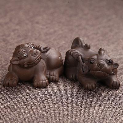 宜兴紫砂茶宠 茶道招财貔貅可养 一对长:7.5高:4.5宽:4.5cm