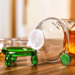 玻璃茶漏过滤网带座透明玻璃茶具创意茶隔虑茶器配件(偏远地区不包邮)