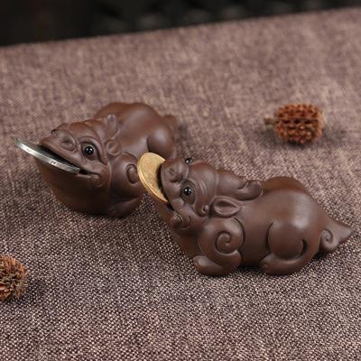 正品宜兴紫砂茶宠招财貔貅茶宠茶玩茶具摆件创意礼品摆件手工