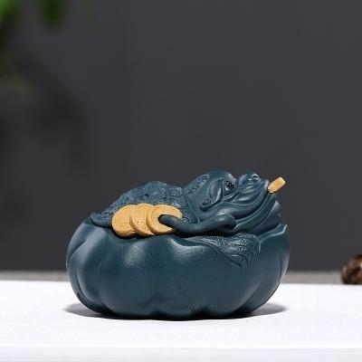 宜兴紫砂荷叶金蟾茶宠纯手工雕塑摆件(偏远地区不包邮)