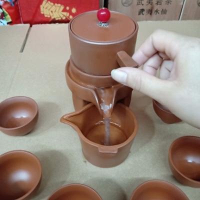 紫砂半全自动功夫茶具套装陶瓷懒人石磨泡茶功夫茶具套装
