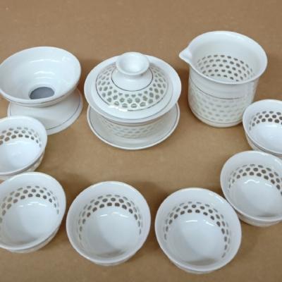 金边玲珑茶具套装蜂窝镂空陶瓷功夫蜂巢茶杯