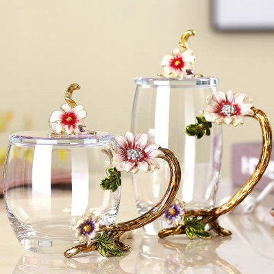 轻奢珐琅彩水杯茶杯子家用耐高温水晶玻璃杯花茶杯送礼物定制