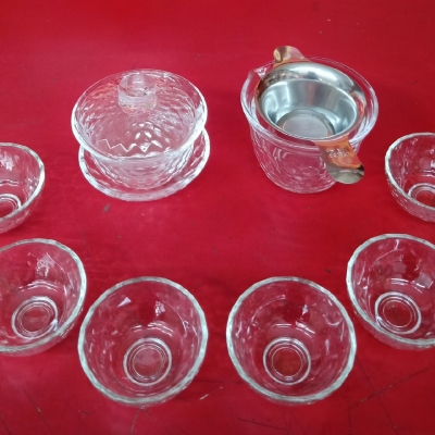 加厚透明玻璃茶具套装玲珑杯水晶盖碗锤目纹茶杯功夫茶具