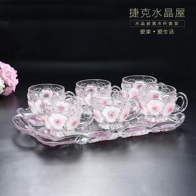 欧式创意水晶玻璃咖啡杯茶杯套装耐热水杯带托盘婚庆送礼佳品