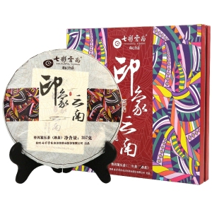 七彩云南印象云南普洱茶熟茶礼盒装饼茶357g(偏远地区不包邮)