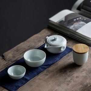 青山依旧.青瓷带茶罐旅行茶具