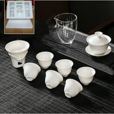 德化高白瓷功夫茶具盖碗泡茶器陶瓷玻璃套装