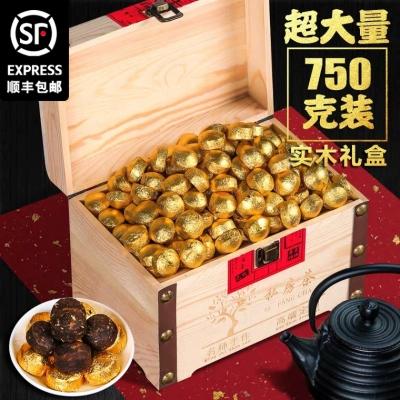 云南迷你小沱茶糯米香小茶饼普洱茶熟茶木质礼盒装750g