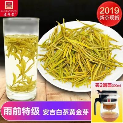 黄金芽茶叶2019年新春茶雨前特级正宗安吉白茶罐装绿茶125g