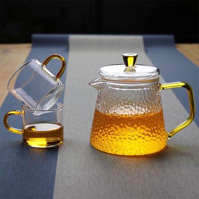 玻璃茶壶过滤泡茶壶耐高温锤纹泡茶器400ml一壶二杯(偏远地区不包邮)