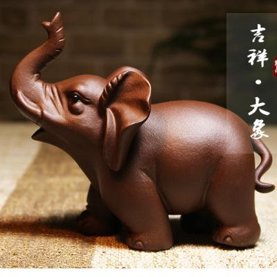 宜兴手工紫砂茶宠吉祥如意大象 家居工艺品摆件雕塑(偏远地区不包邮)