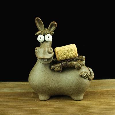 粗陶毛驴茶玩茶台装饰品功夫茶道创意摆件手工雕塑小茶宝茶宠