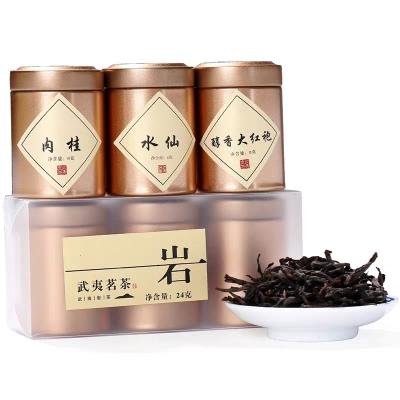 原产地 传统碳焙 大红袍水仙肉桂组合装 铁罐装茶叶一份含三铁罐