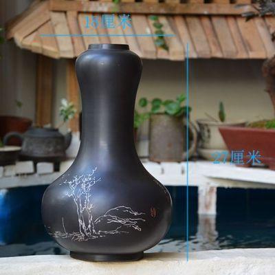 云南建水紫陶台面花瓶摆件