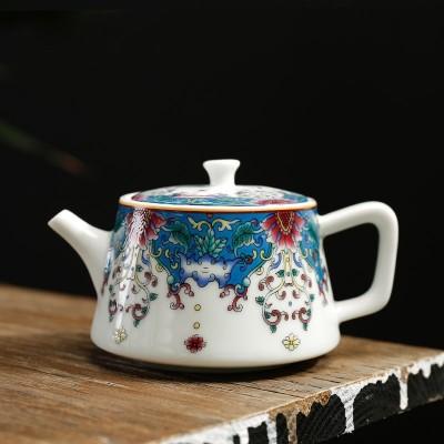 珐琅彩大号泡茶壶 景德镇粉彩茶具趴花茶壶 功夫茶具陶瓷单壶