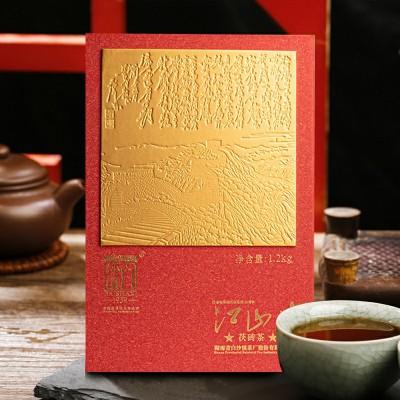 安化黑茶茯砖茶1200克礼盒装江山情金花黑茶