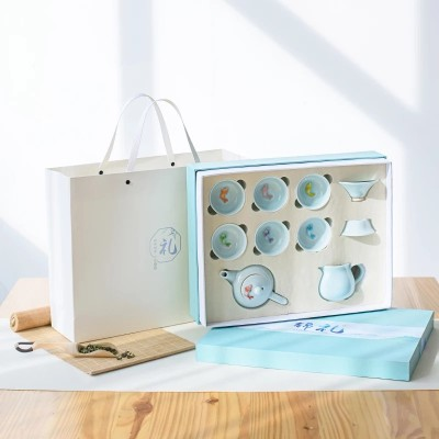 青瓷创意七彩小鱼功夫陶瓷茶具礼盒装 茶壶茶杯企业定制节庆礼品