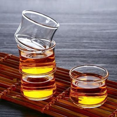 玻璃茶杯功夫竹节茗杯 玻璃杯茶具透明杯套装杯子50毫升4只