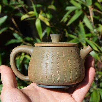 一图一物,中国四大名陶之云南建水紫陶,手刻心经茶壶,作者:事俗堂-小文