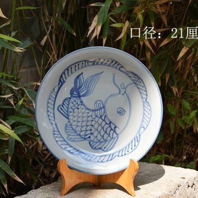 云南玉溪华宁陶多用途盘子纯手工手绘上釉装饰