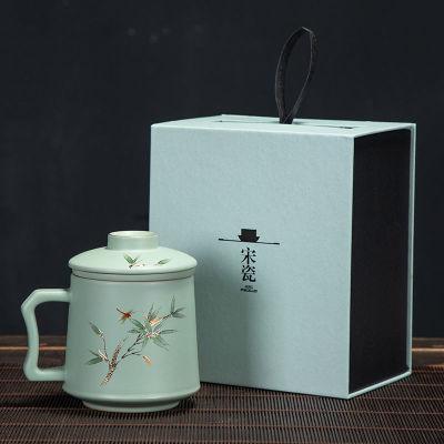 陶瓷茶杯汝窑办公室杯陶瓷家用泡茶水杯单杯大号过滤带盖茶杯礼盒