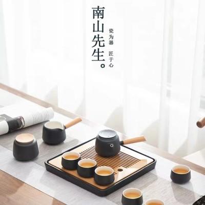 黑陶侧把壶功夫茶具套装家用简约储水式干泡茶盘茶海陶瓷