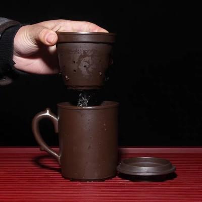 宜兴紫砂三件杯套单独内胆隔舱过滤隔茶杯原矿紫泥带盖泡茶盖杯子