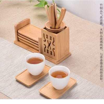 茶道六君子组合套装功夫茶具配件竹黑檀茶夹子镊子实木质