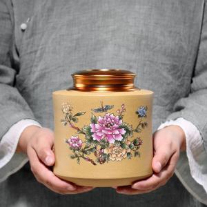 宜兴紫砂茶叶罐国色天香原矿段泥手工彩绘茶叶罐仿古茶叶罐