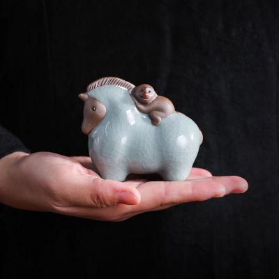 陶瓷茶具创意茶宠可养哥窑开片陶瓷可爱个性猴子马茶玩茶台装饰小摆件