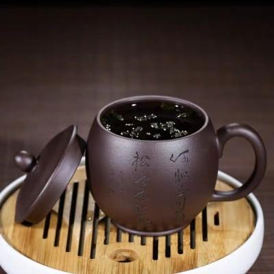 宜兴紫砂杯带盖会议杯全手工老紫泥刻字非陶瓷茶具杯子口杯大茶杯