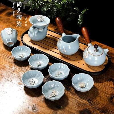 汝窑茶具套装镶银茶具整套银鱼杯开片汝瓷功夫侧把壶办公陶瓷茶杯