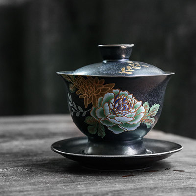 日式手工贴花盖碗陶瓷三才盖碗泡茶器功夫茶具配件白瓷大号泡茶碗