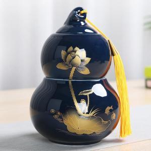 陶瓷茶具葫芦茶叶罐陶瓷 密封罐家用茶叶盒创意装茶叶的茶罐