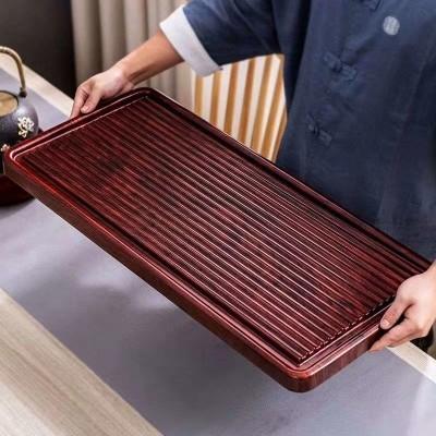 重竹茶盘简约排水式整块竹制实木茶海大号加厚电木款家用茶台托盘
