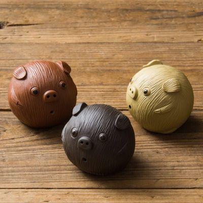 紫砂茶宠摆件小号精品可养可爱元气小猪手工创意装饰品功夫茶具配件 3只