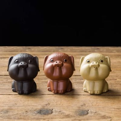 紫砂茶宠摆件小号精品可养可爱福气小猪手工创意装饰品功夫茶具配件