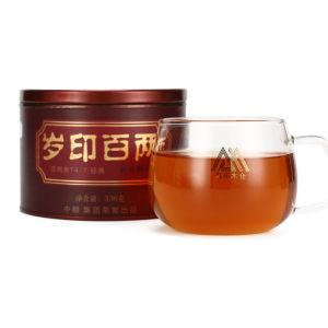 中茶百年木仓湖南安化黑茶 千两茶系列 岁印百两茶 两片装336g