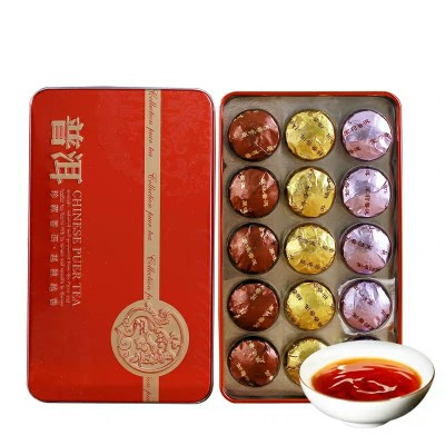 云南普洱茶熟茶 多口味糯香茉莉原味小沱茶礼盒装小茶饼坨黑茶叶