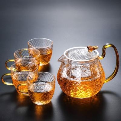 玻璃茶壶家用过滤泡茶器复古锤纹玻璃茶壶耐高温加厚茶壶茶具套装600毫升