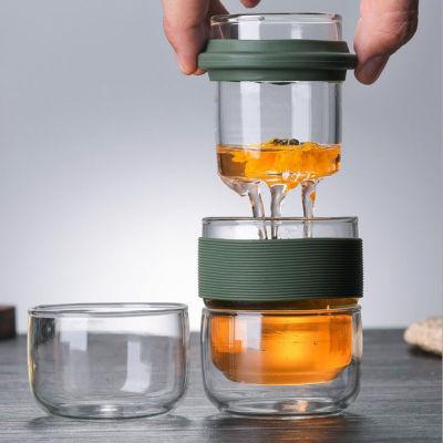 耐热玻璃旅行茶具套装便携快客杯随身一壶二杯功夫泡茶壶户外车载