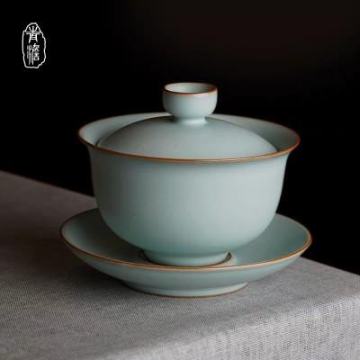 青澹汝窑盖碗茶杯泡茶大号家用单个景德镇三才杯茶碗手工青瓷茶具陶瓷