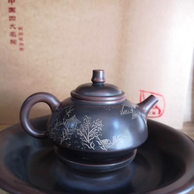 桂满元坭兴陶 非紫砂 中国四大名陶之一广西钦州坭兴陶家用茶壶茶具套装