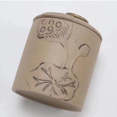 紫砂花纹雕刻茶叶罐装