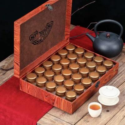新品大红袍茶叶礼盒装武夷岩茶浓香型30罐木质送礼佳品300g