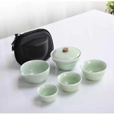 茶具/5件套哥窑旅行茶具套装/茶具/陶瓷茶具/茶杯/旅行茶具套装