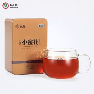 中茶黑茶安化小金花餐后茶安化黑茶金花茯茶罐装100g