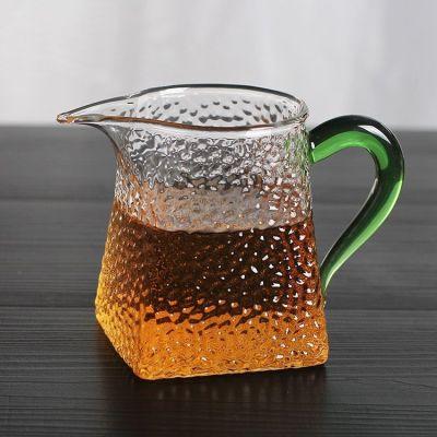 锤纹玻璃公道杯加厚鹰嘴耐热玻璃分茶器功夫茶具锤纹方公杯彩色把