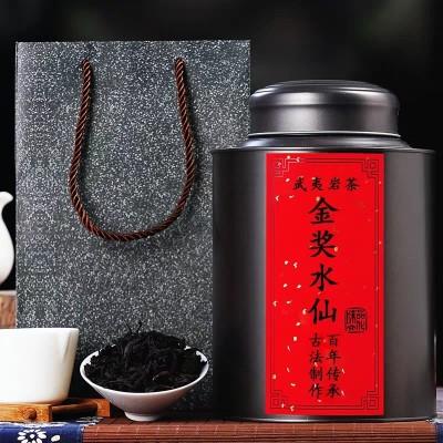 金奖水仙大红袍茶叶特级正宗500g散装铁罐装武夷岩茶礼盒装乌龙茶